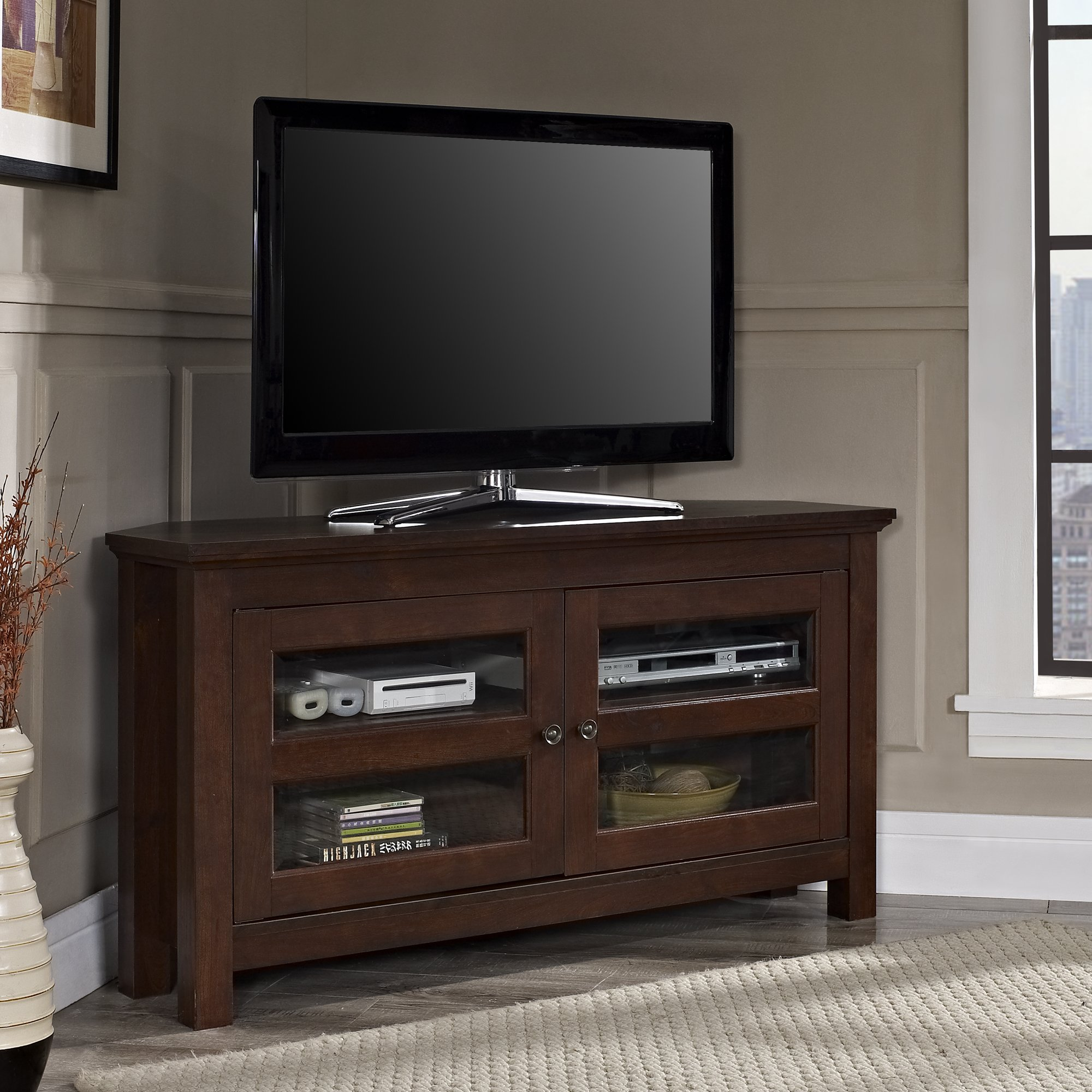 Walker Edison 44'' Brown Wood Cordoba Corner TV Stand Console for Flat Screen TV's Up to 50'' Entertainment Center by Walker Edison Furniture Company