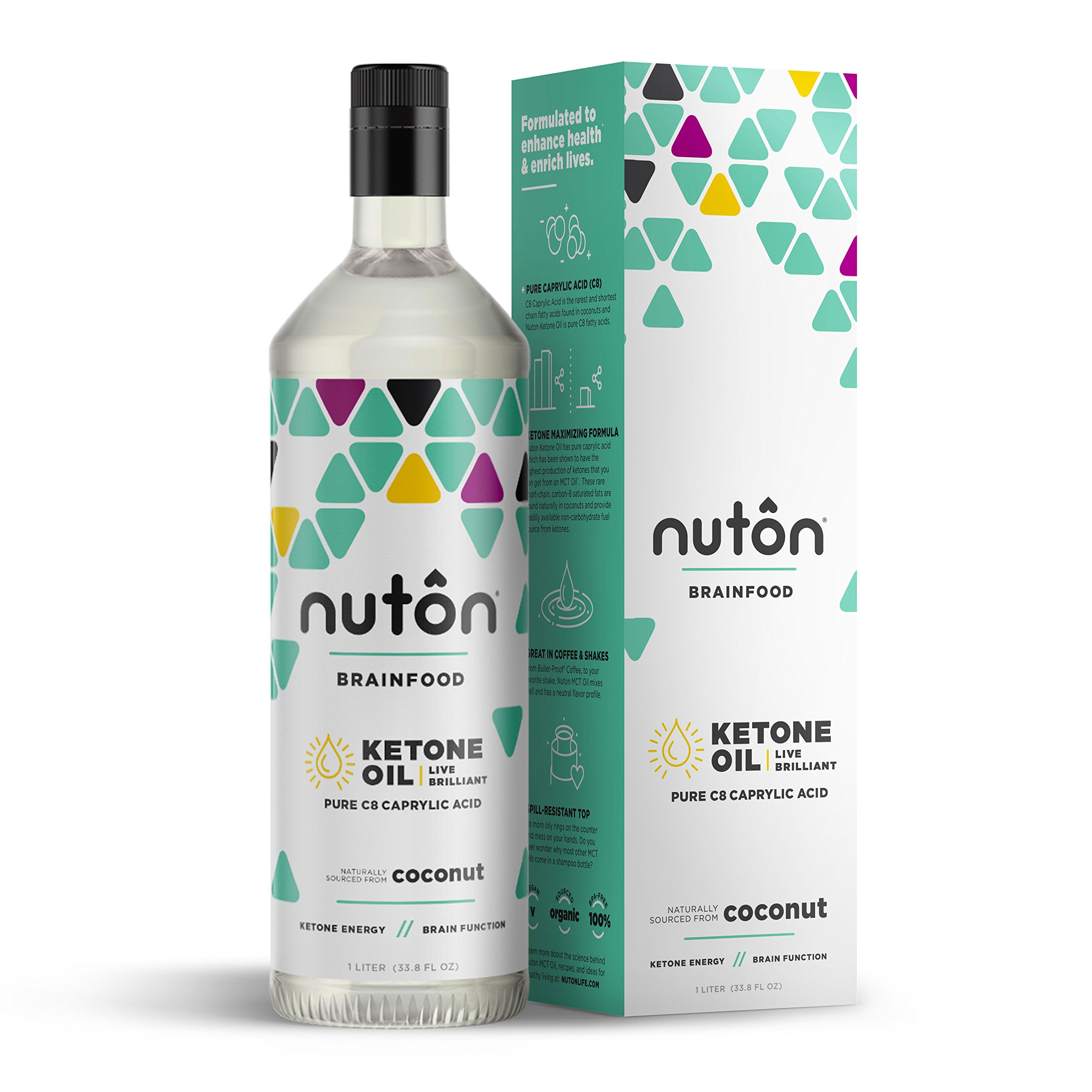 Nuton Pure C8 MCT Oil - 33.8oz | Compare to Brain Octane Oil | by Caprylic Acid has most efficient and clean ketone production | Sourced from organic coconuts