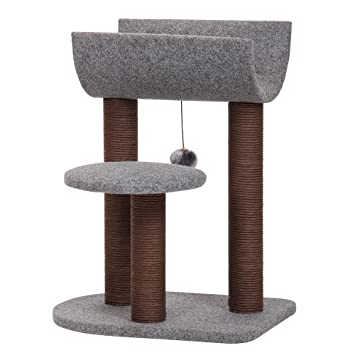 PetPals PP5477 Cat Tree With Curved Napping Perch, Chocolate/Gray, One Size