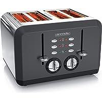 Arendo - Automatische broodrooster met 4 sneden in roestvrij staal - tot vier sandwich en toast schijven…