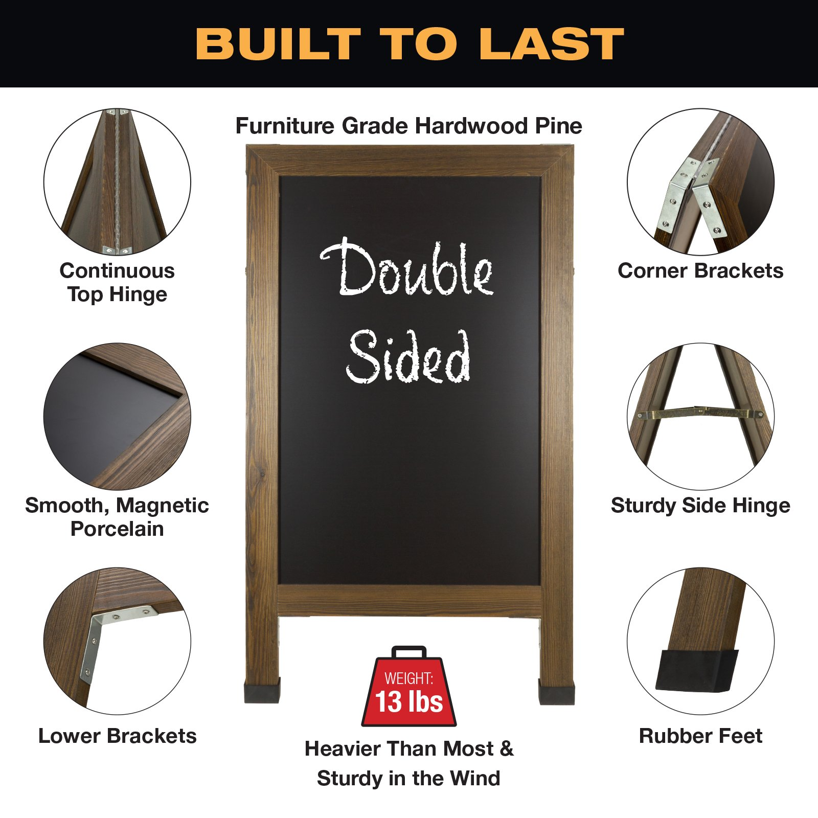 Sandwich Board Sidewalk Chalkboard Sign: REINFORCED, HEAVY-DUTY / 10 CHALK MARKERS / 40 PIECE STENCIL SET / CHALK / ERASER / DOUBLE SIDED / LARGE 40x23 Chalk Board Standing Sign A-Frame (Rustic) by Excello Global Products (Image #4)