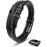 SERASAR | Pulsera de Cuero Premium para Hombre en Negro | Cerradura Magnética de Acero Inoxidable en Negro, Plata y Oro…
