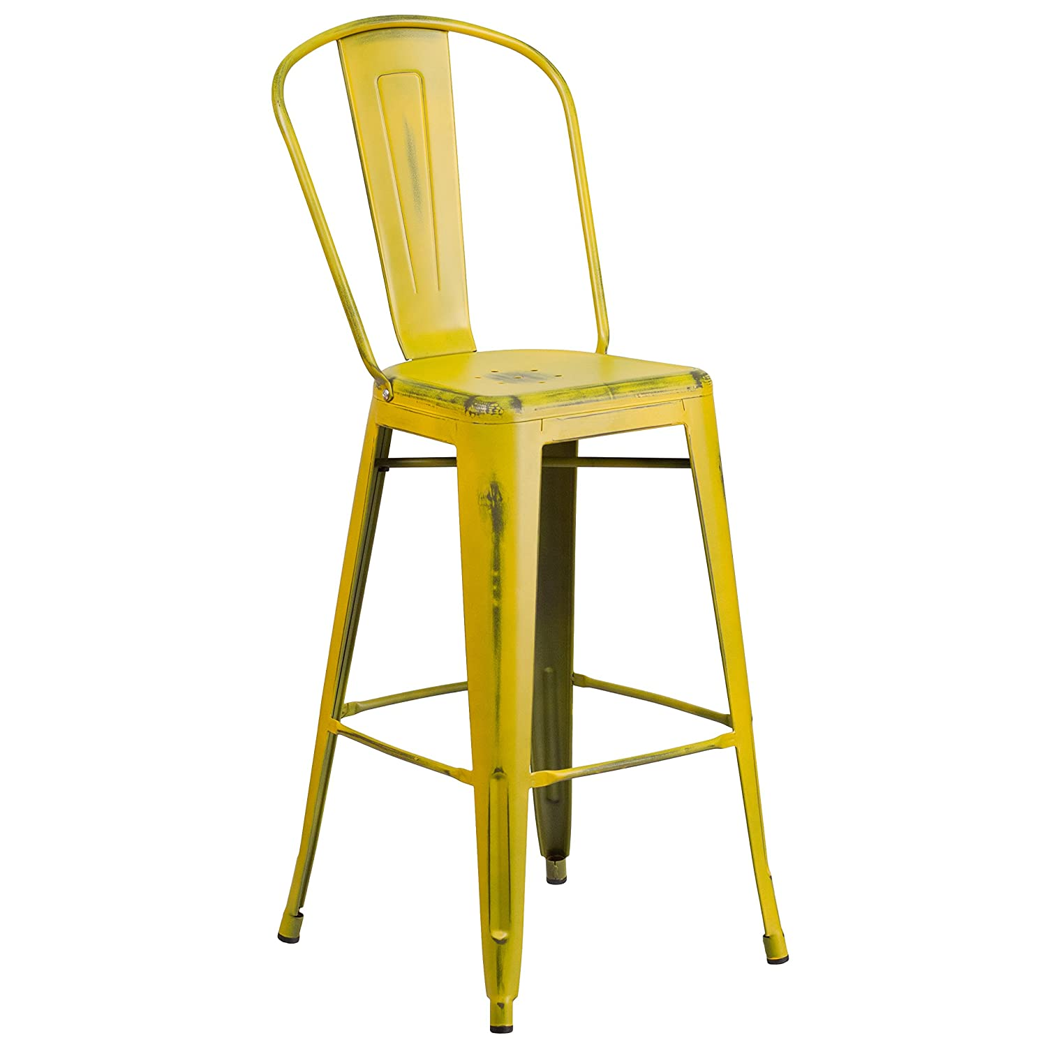 Flash Furniture 30 High Distressed Yellow Metal Indoor-Outdoor Barstool with Back