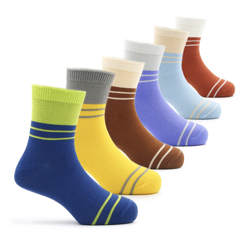 Boys Cotton Crew Socks Kids Athletic Socks 6 Pack 9T