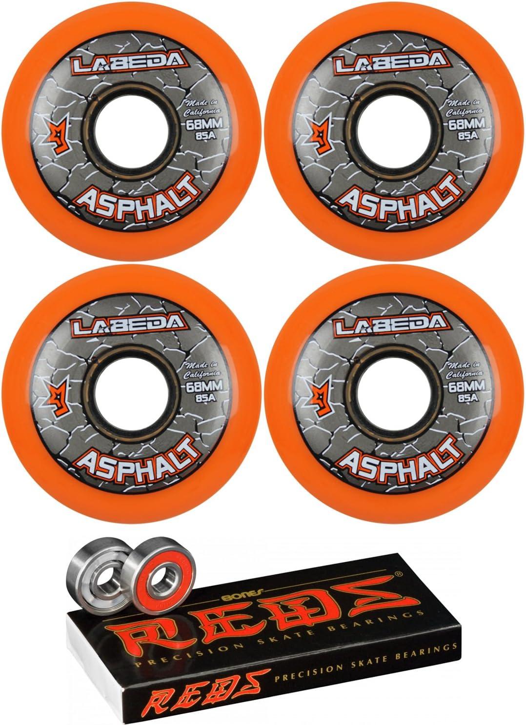 Labeda アスファルトインラインローラーホッケーホイール 68mm オレンジ 85A 4パック ボーンズ レッド
