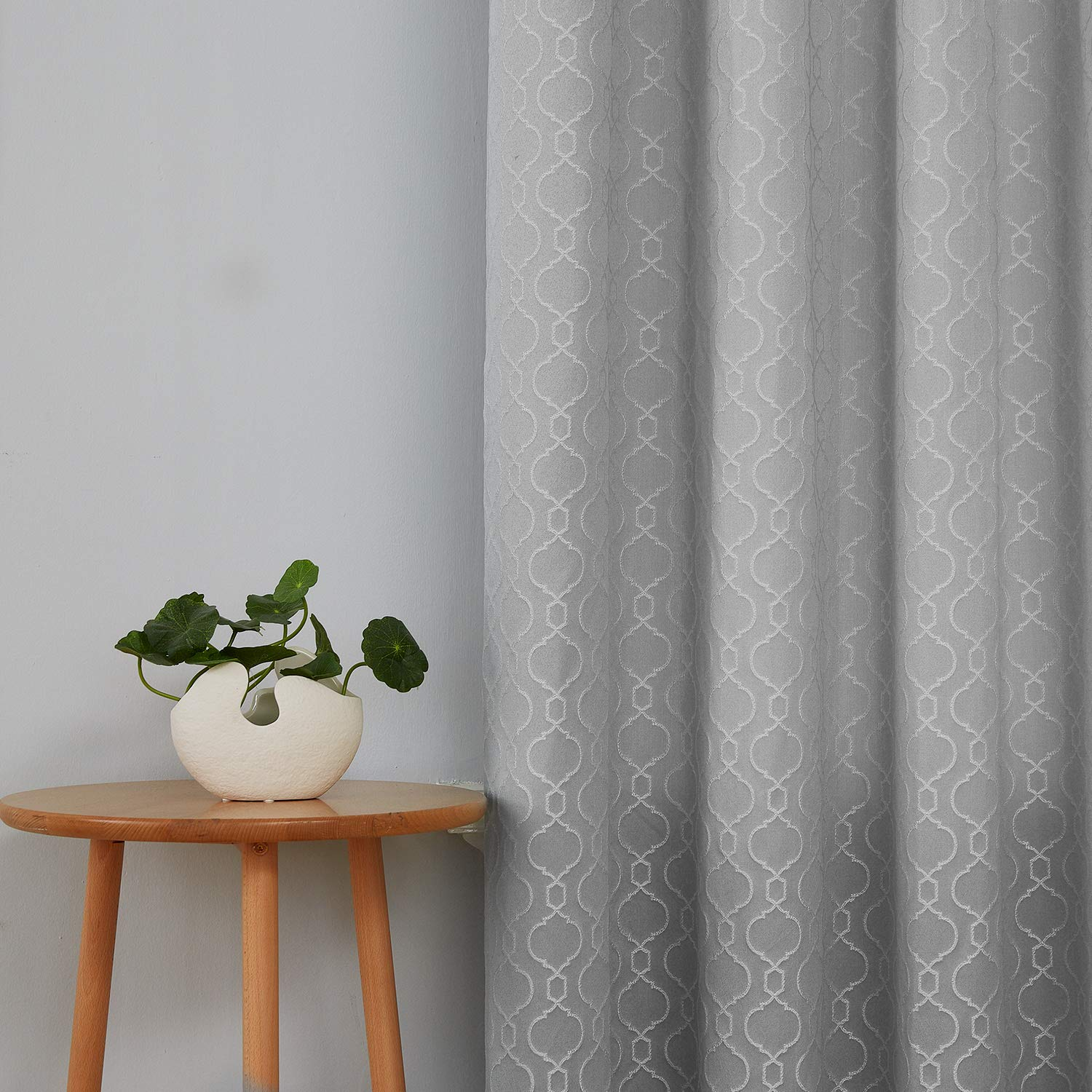 Details about Deconovo Silver Grey Bedroom Curtains Room Darkening Jacquard  Moroccan Curtains