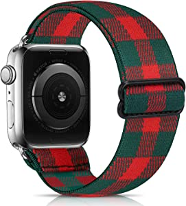 ShuYo Adjustable Elastic Watch Band Compatible for Apple Watch Band 38mm 42mm 40mm 44mm iwatch Series 6/5/4/3/2/1,Soft Fabric Cotton Sport Replacement Loop Strap Wristbands for Women Men(42/44mm)