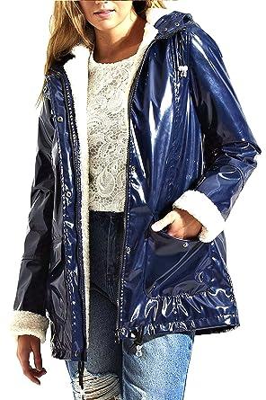 42fbe36152957 Womens Black Metallic Look Glossy Waterproof Festival Mac Rain Coat Jacket   Amazon.co.uk  Clothing