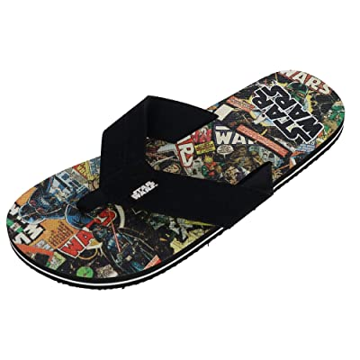 Bioworld Men's Star Wars Retro Comic Thong Slippers, Medium (8/9), Black | Shoes
