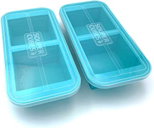 Souper Cubes Extra-Large Silicone Freezer Tray - makes 2 perfect 2 cup portions - freeze soup, stew, sauce, or meals (2 Cup tray, Aqua color, pack of 2, with lids)