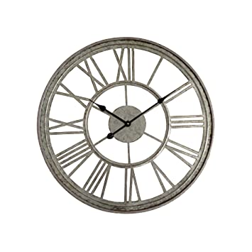 Rebecca Mobili Reloj de Pared Original Redondo Gris Metal Estilo Vintage Sala de Estar Cocina Pasillo Ø 70 cm x 3,5 cm - Art. RE4986: Amazon.es: Hogar