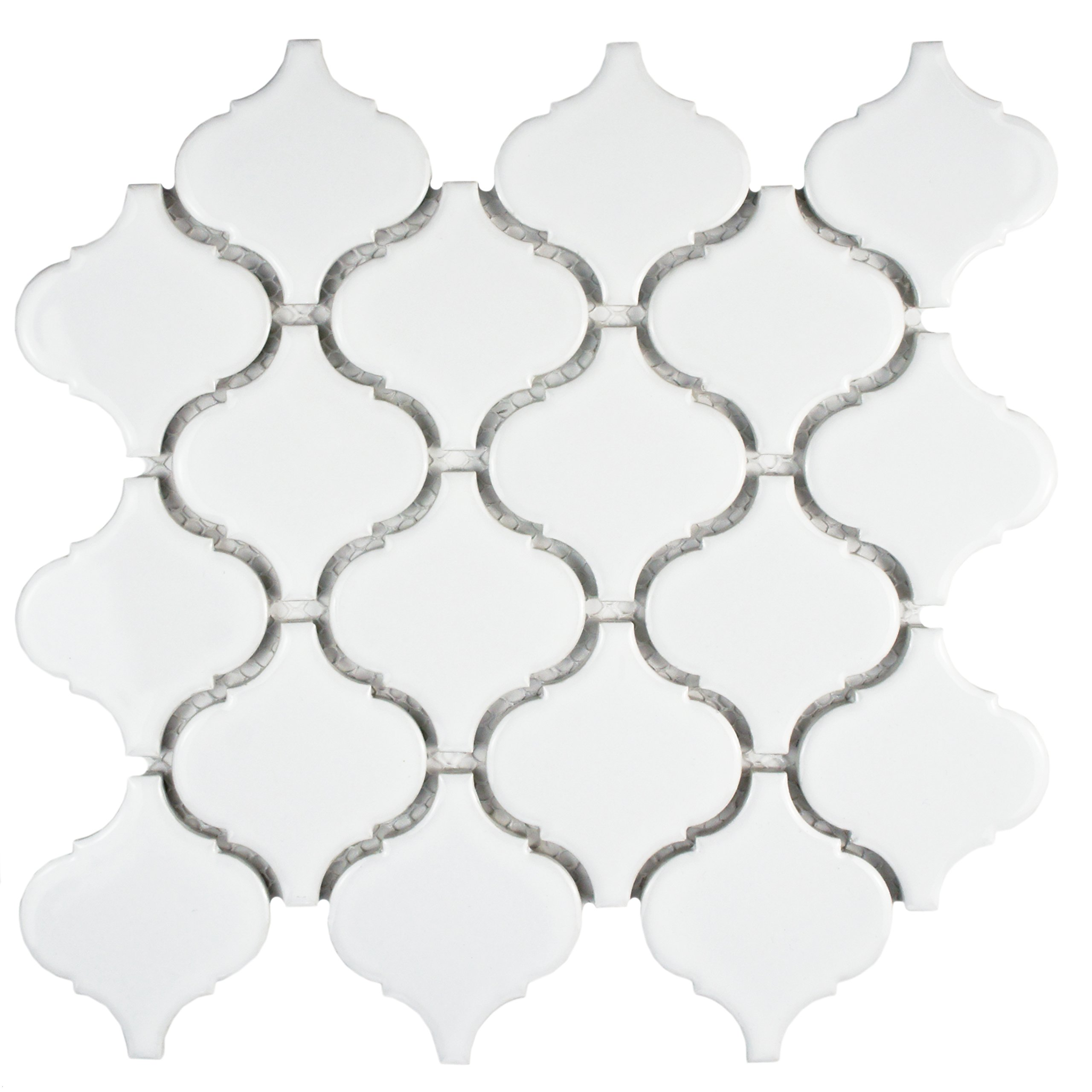 SomerTile FDXMLGW Retro Beacon Porcelain Floor and Wall Tile, 9.75'' x 10.25'', White