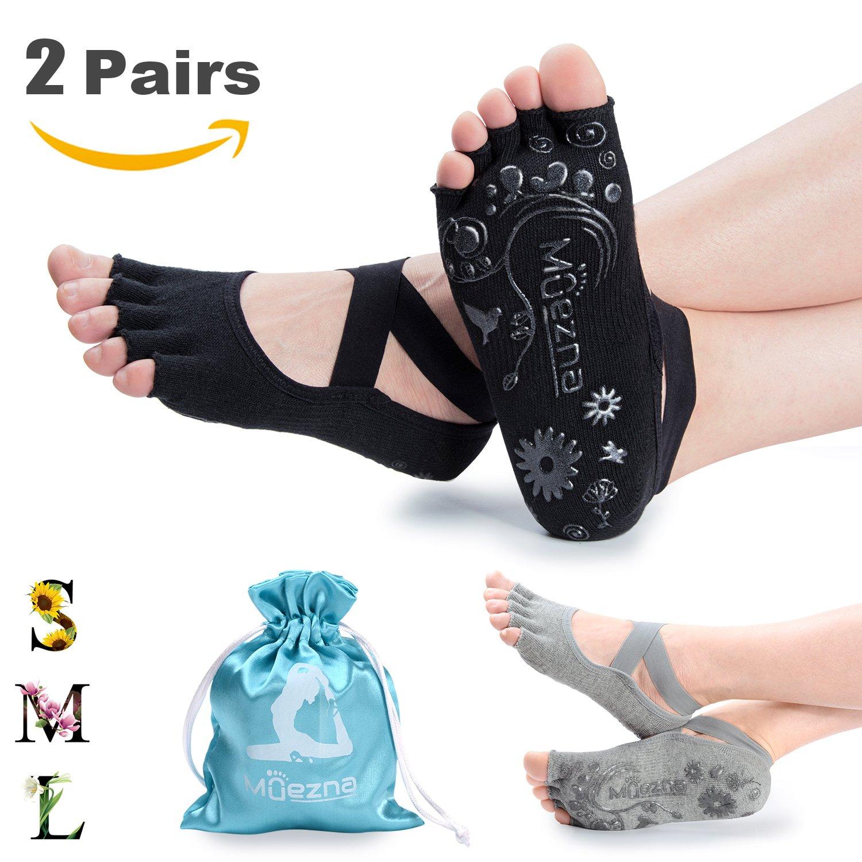 Muezna Non Slip Yoga Socks for Women, Toeless Anti-skid Pilates, Barre, Ballet, Bikram Workout Socks with Grips (Black Gray, Small (Women 4.5-8.5))