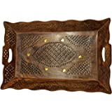 Wood Handmade 14.5 X 10 Inch Tray - Wooden Serving Tray with Brass Etchings Unique Design, Special Gifts at Good Friday