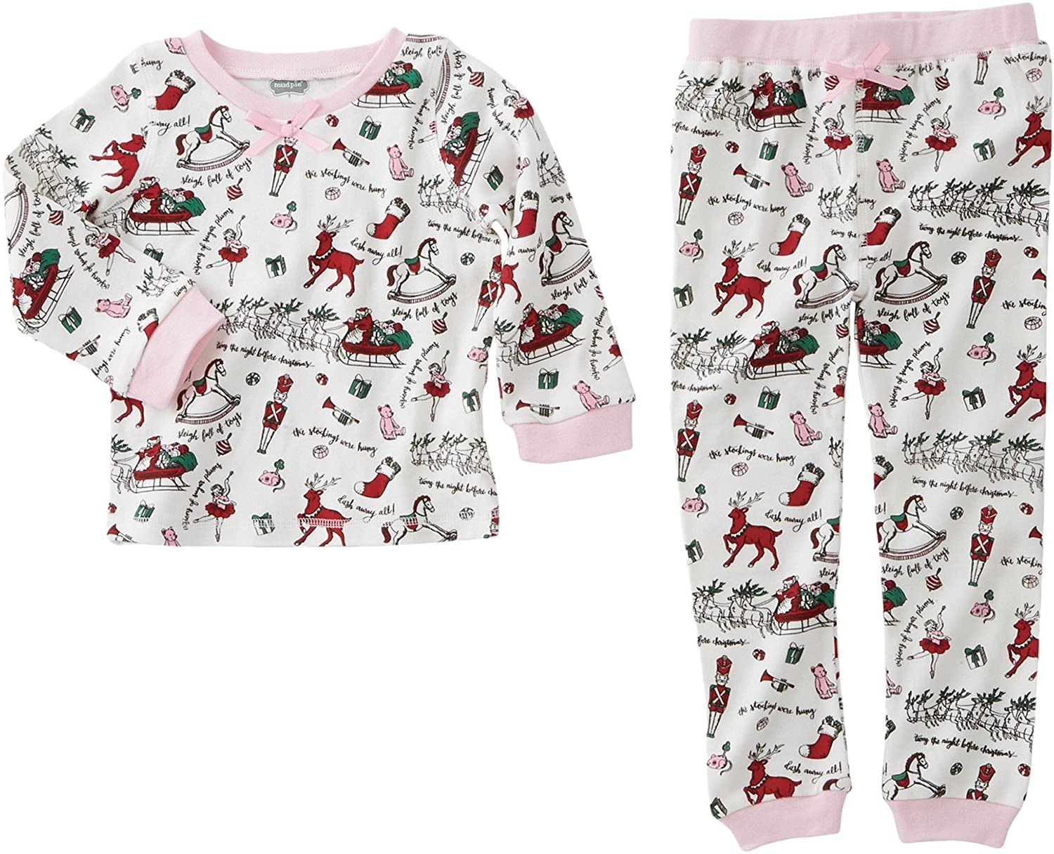 Amazon.com  Mud Pie Baby Girl s Very Merry Christmas Pajamas (Infant Toddler)  Pink 9-12  Clothing fbb9fc217