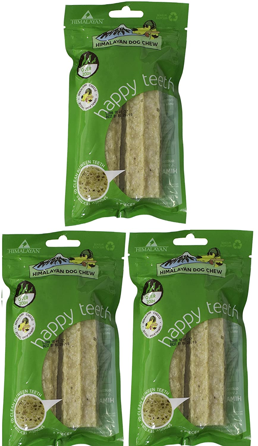 3 Bags Himalayan Happy Teeth Dog Chew, Cheese, Large, Pack of 3