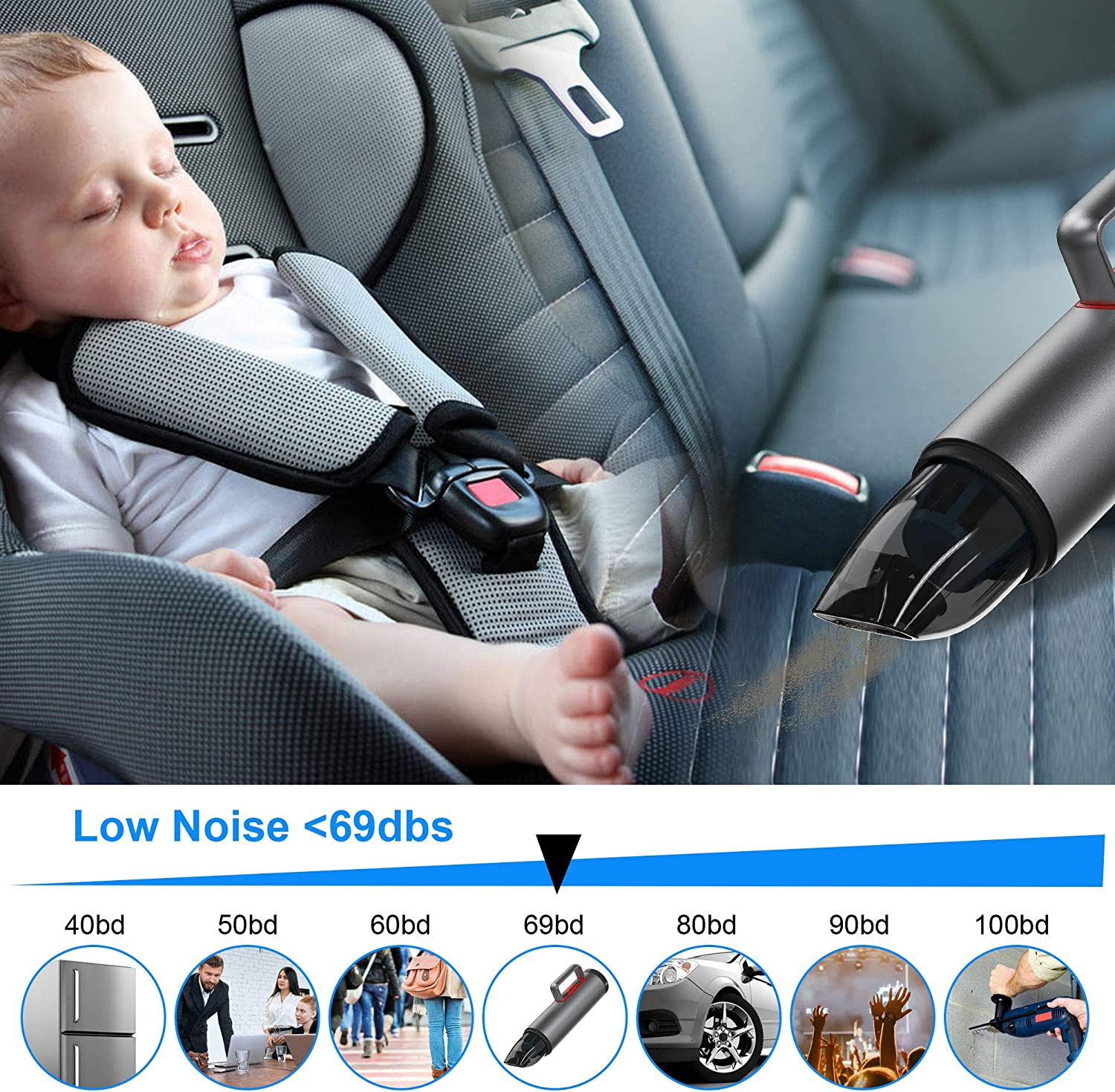 6000PA Powerful Handheld Vacuum Cleaner Cordless Dry Use Portable Auto Vacuum Cleaner for Car Interior Care POWERGIANT Car Vacuum Cleaner Home and Office Pet