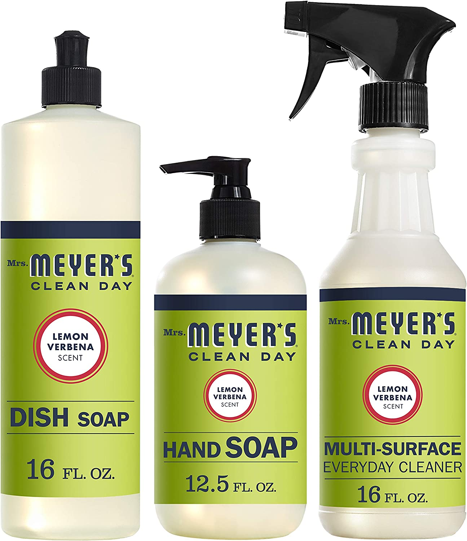 Mrs. Meyer's Clean Day Kitchen Basics Set, Lemon Verbena, 3 ct: Dish Soap (16 fl oz), Hand Soap (12.5 fl oz), Multi-Surface Everyday Cleaner (16 fl oz)