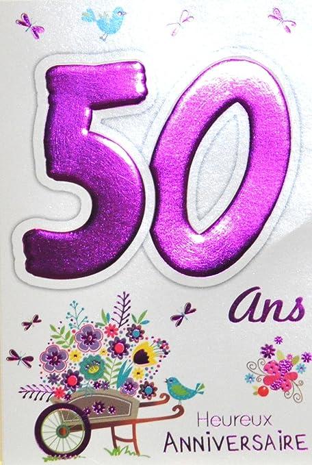 Age Mv 69 2035 Carte Anniversaire 50 Ans Femme Motif Brouette Fleurs Oiseaux Amazon Fr Fournitures De Bureau