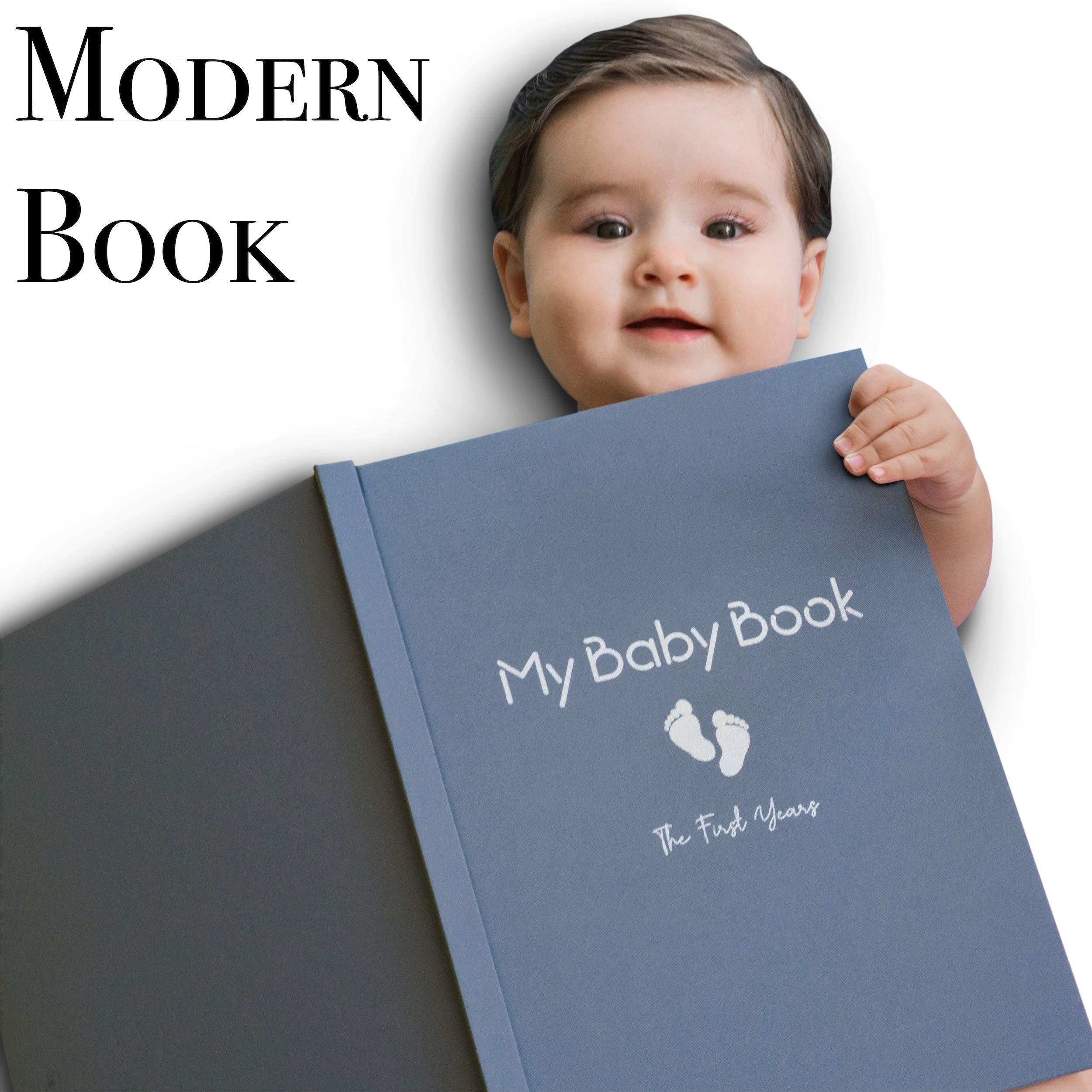 Baby Memory Book Boy Modern Journal Keepsake Scrapbook for First 5 Years