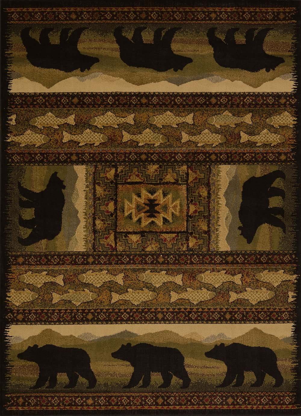 amazoncom united weavers of america affinity collection black bears rug 53 by 106feet brown kitchen u0026 dining