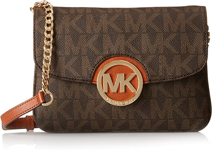 Michael Kors Women's Fulton Signature PVC Flap Gusset Crossbody Bag