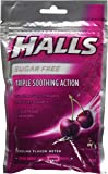Cos5 Halls Sugar Free Black Cherry Flavor of Triple Soothing Action Fast Relief Cough Suppressant - 3 Bags of 25 Cough Drops (75 Drops Total)