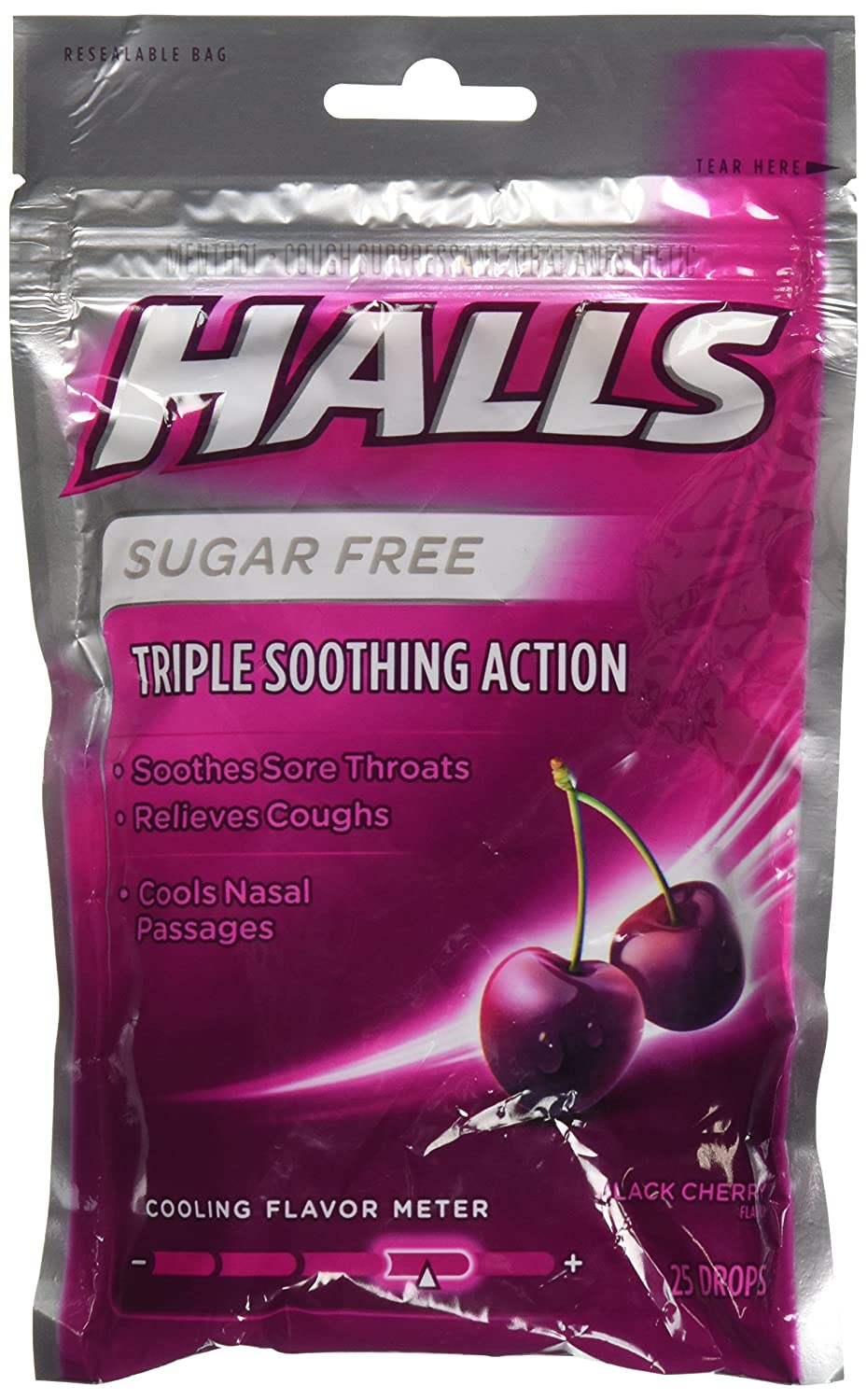 Halls Cos5 Sugar Free Black Cherry Flavor of Triple Soothing Action Fast Relief Cough Suppressant - 3 Bags of 25 Cough Drops (75 Drops Total)