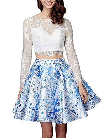 21388b8a03 vimans Women s Long Sleeve Homecoming Dresses Short 2 Piece Prom Gowns  D5074 at Amazon Women s Clothing store