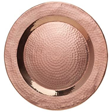 Sertodo Copper, Round Charger Plate, Hand Hammered 100% Pure Copper, 12 inch diameter, Single