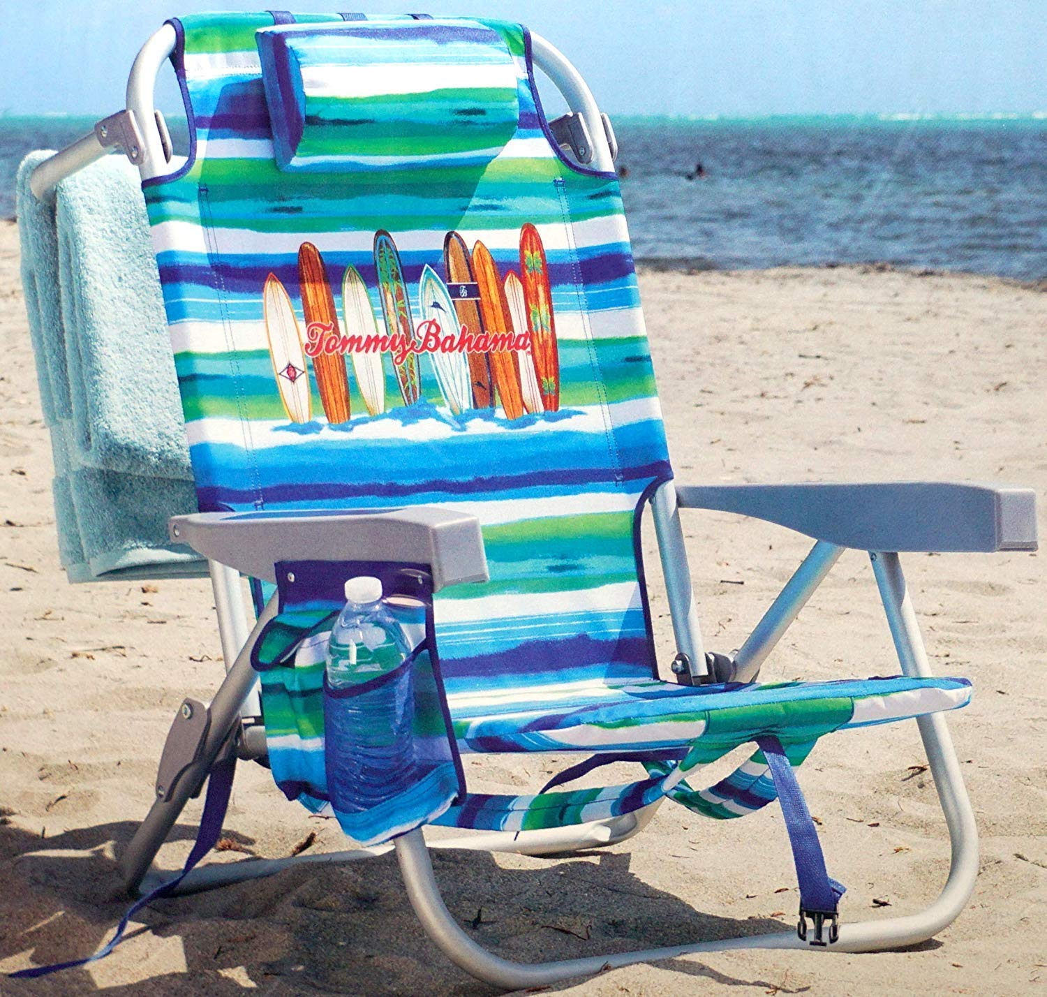 Tommy Bahama Backpack Beach Chair Lounger w Storage Pockets and Pillow- Surfboards with Blue, White Aqua Stripes by TOMMY B
