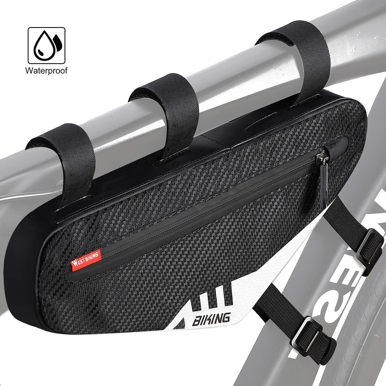 Lixada Bike Triangle Bag with Water Bottle Pocket MTB Bicycle Frame Tube Bag Cycling Tool Storage Bag Pouch with Reflective Strip