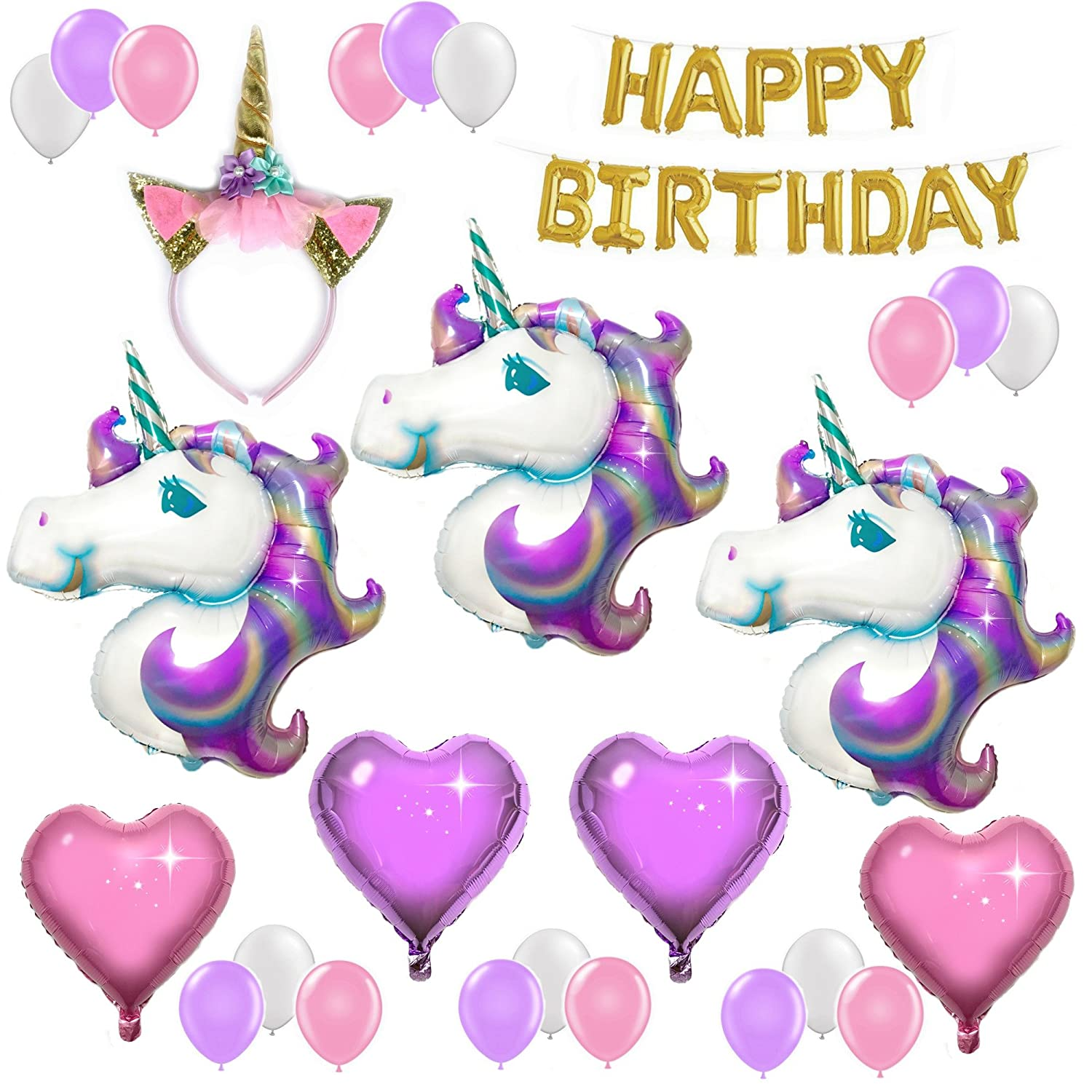 UNICORN PARTY SUPPLIES and PARTY DECORATIONS | Unicorn Balloons with Happy Birthday Banner and Glitter Unicorn Headband - Unicorn Theme Party Pack - 3 Unicorns, Foil Hearts, and Latex Balloons Live Love Logistics