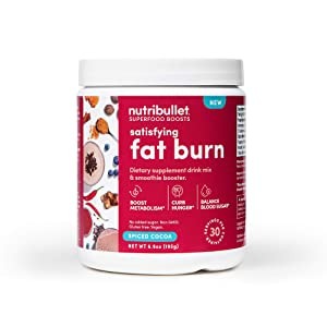 NutriBullet Superfood Boosts – Satisfying Fat Burn (with fiber, thermogenic spice blend & prebiotics to boost metabolism & curb hunger), Spiced Cocoa, 30 Serving Tub