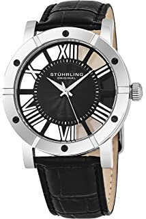 Stuhrling Original Mens Watch Leather Strap - Swiss Quartz Ronda Mvmt - Sports Watch - 881
