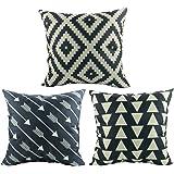 "Luxbon-Set of 3 Pcs Geometric Cushion Cover Durable Cotton Linen Geometric Argyle Triangle Arrows Waves Throw Pillow Case Home Decor 18""X18"" 45x45cm"