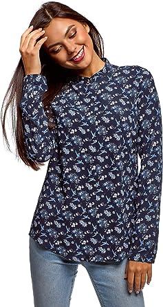 oodji Collection Mujer Blusa de Viscosa con Cuello Mao: Amazon.es: Ropa y accesorios