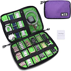 iiteeology Smartwatch Accessories Organizer, UniversalElectronics Accessories Travel Storage Bag for Watch Bands, Extra Pocket for Magsafe Charger, Cable, Headphone, USB, SD Cards, Purple