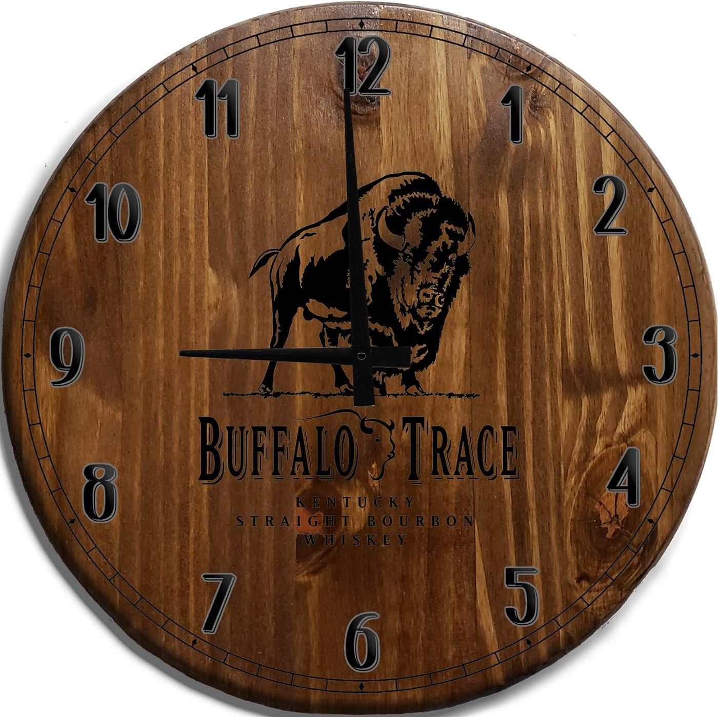 Mnk Large Wall Clock 24 Inch Buffalo Trace Kentucky Bourbon Whiskey Bar Sign Home D cor Brown Wall Decor