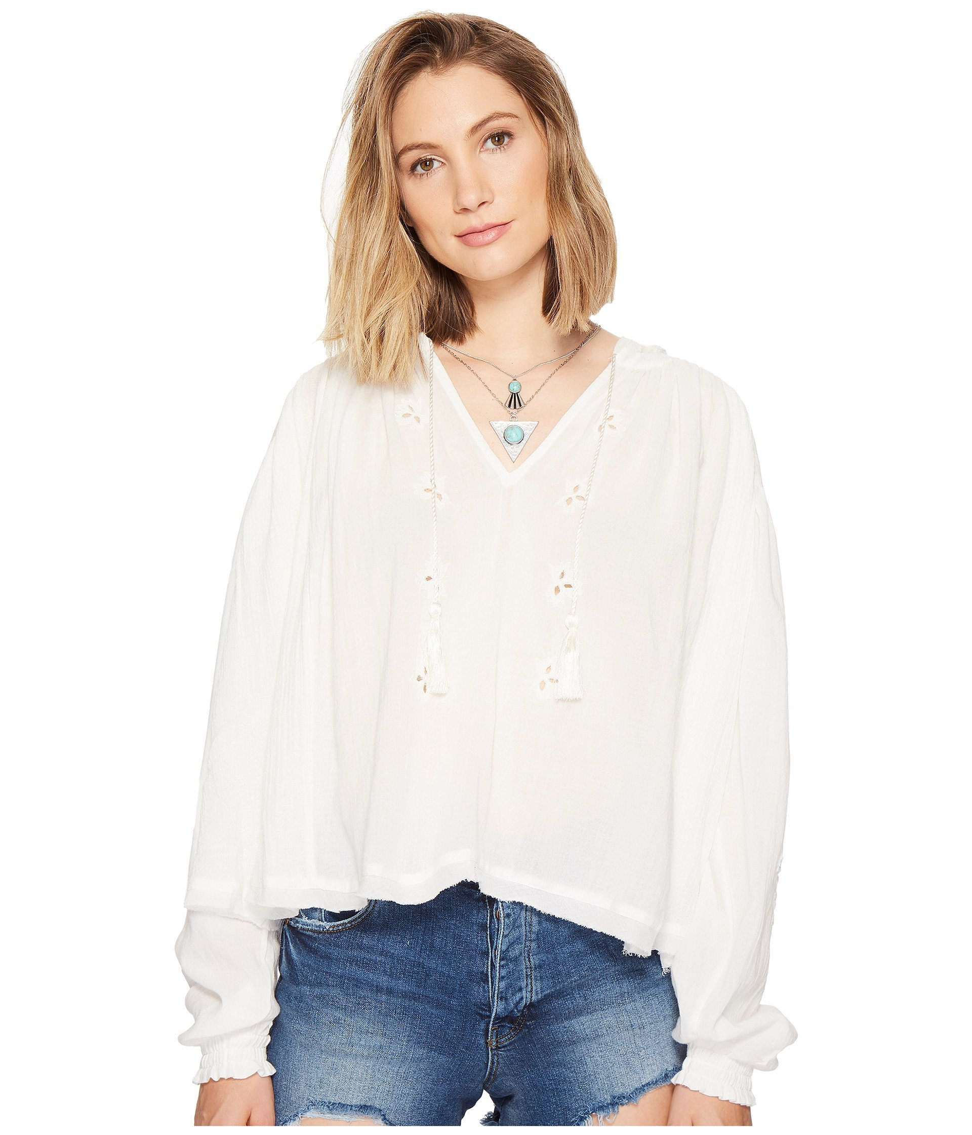 Free People Women's Tropical Summer Hooded Top Ivory Small