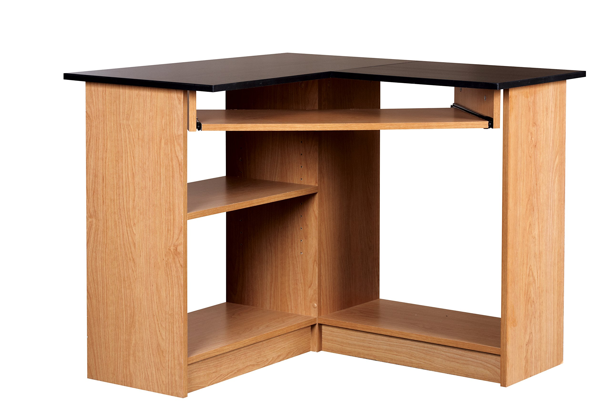 Mylex Corner Computer Workstation, 35.5 W x 35.5 D x 29 H Inches, Oak with Black Top, Assembly Required (43098)