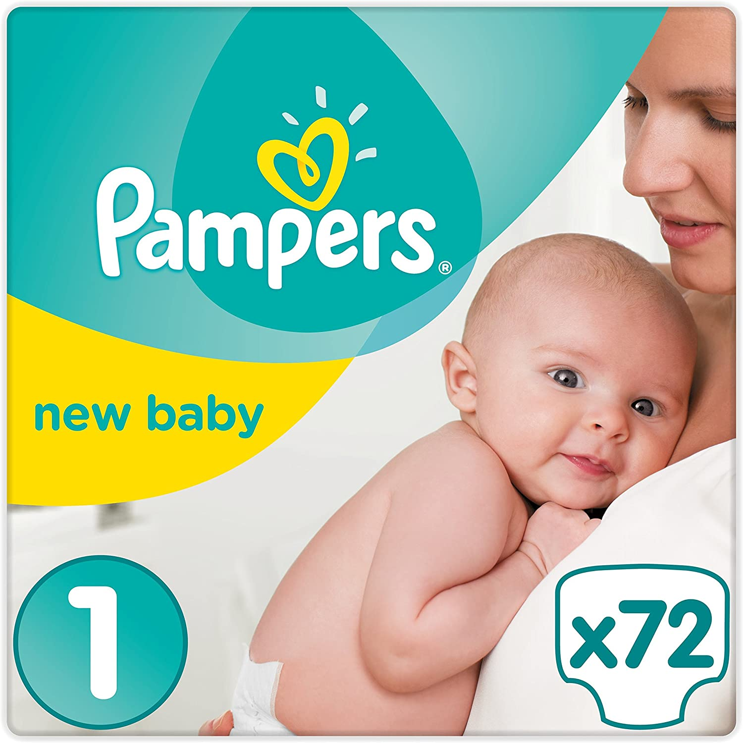 Pampers Premium Protection New Baby Nappies Size 1 Newborn (2-5 kg), Half Month Box, Pack of 1 (1 x 72 Pieces).