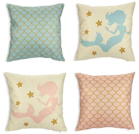 Juvale Sirena Manta Fundas de Almohada – Pack de 4 Unidades Decorativo sofá Fundas de Almohada para Las niñas, casa decoración Fundas de cojín, Rosa y ...