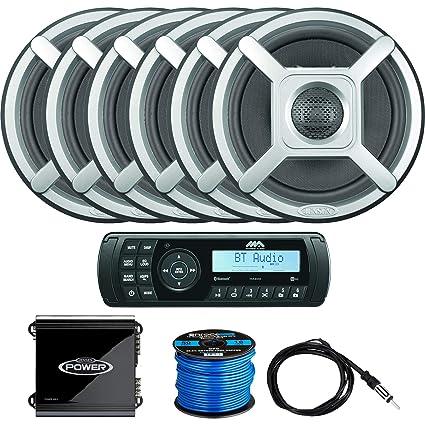 Motoryzacja: Części 800W Amp 4 Speakers Elektronika samochodowa, GPS i zabezpieczenia Silver Marine CD MP3 AM/FM Radio Stereo & Bluetooth /Cover