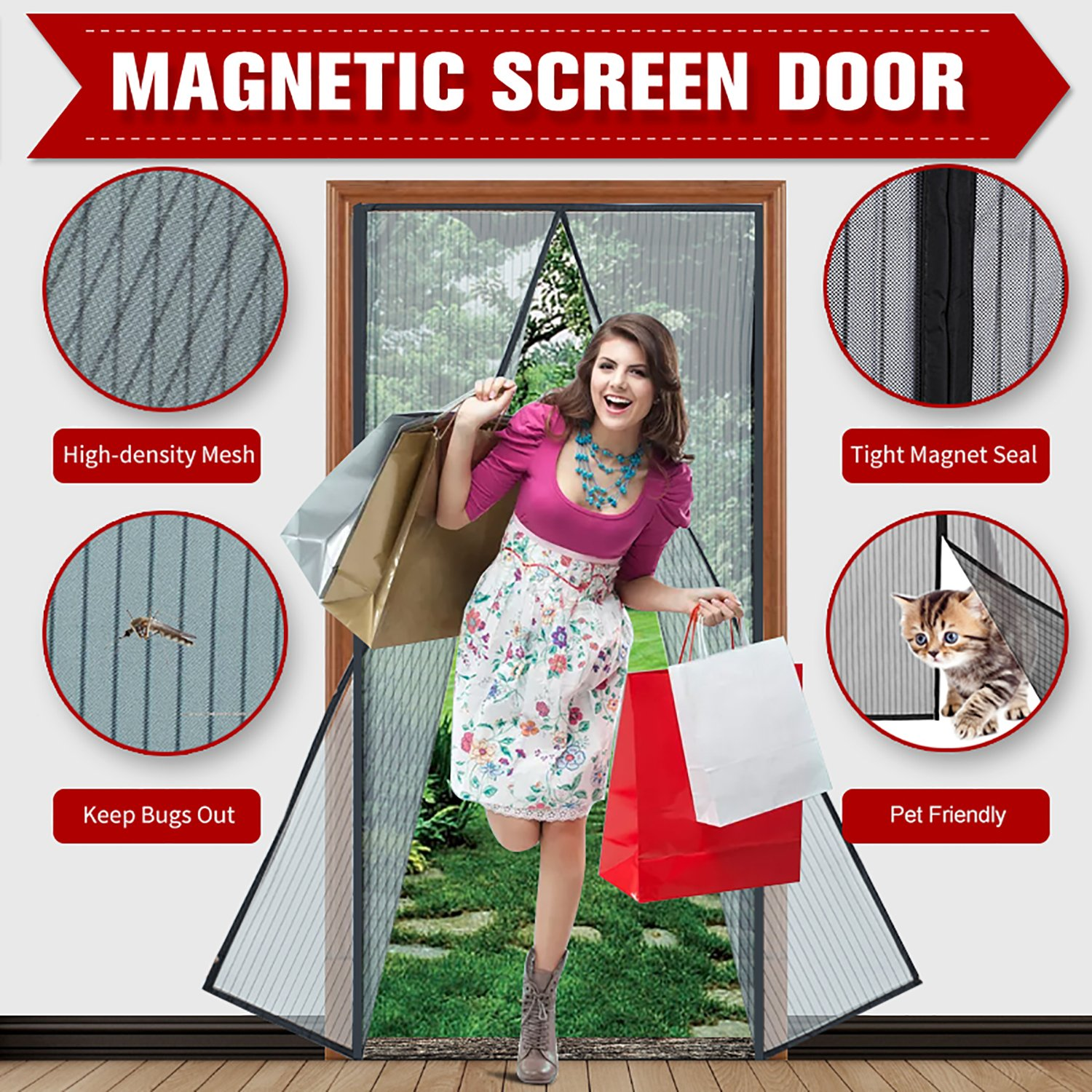 "Magnetic Screen Door 39""x 83"" with Heavy Duty Reinforced Mesh Curtain and Full Frame Velcro, Fits Door Size up to 36''X82'' Max- Black by PhoenixReal"