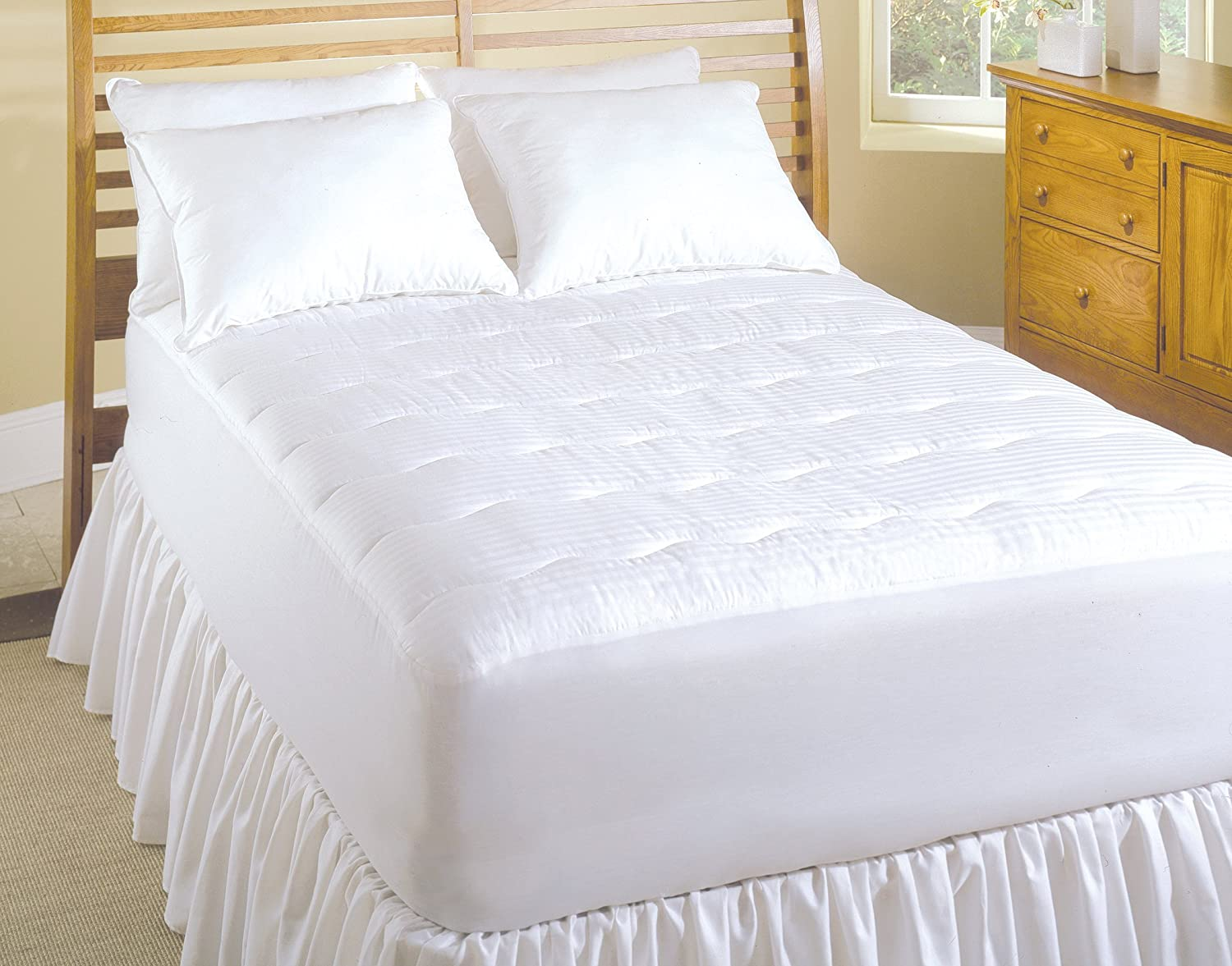 SoftHeat Smart Heated Electric Mattress Pad with Safe /& Warm Low Voltage Technology Renewed 233 Thread-Count California King Dobby Stripe