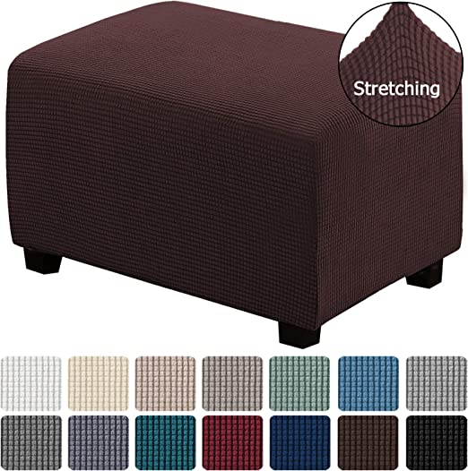 Amazon Com H Versailtex Oversized Storage Ottoman Covers Slipcover Furniture Protector Stretch Sofa Shield Ottoman Slipcover For Ottoman Jacquard Universal Ottoman Cover Easy Fitted Ottoman X Large Chocolate Kitchen Dining