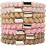 Kitsch Perfect Ponytail Holder, Hair Ties for Thick Hair, Elastic Hair Ties, Hair Rubberbands, 8pcs (Blush/Gold)