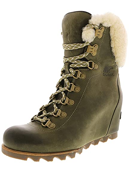 7c062d34625aef Sorel Conquest Wedge Shearling Ankle Boots Boots Women Brown Mid Boots   Amazon.co.uk  Clothing