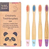 Wild & Stone Organic Children's Bamboo Toothbrush   4 Pack Candy Colour   Soft Fibre Bristles   100% Biodegradable…
